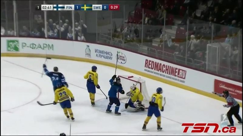 2018 IIHF Ice Hockey U18 World Championship Semifinals Sweden vs Finland Highlights