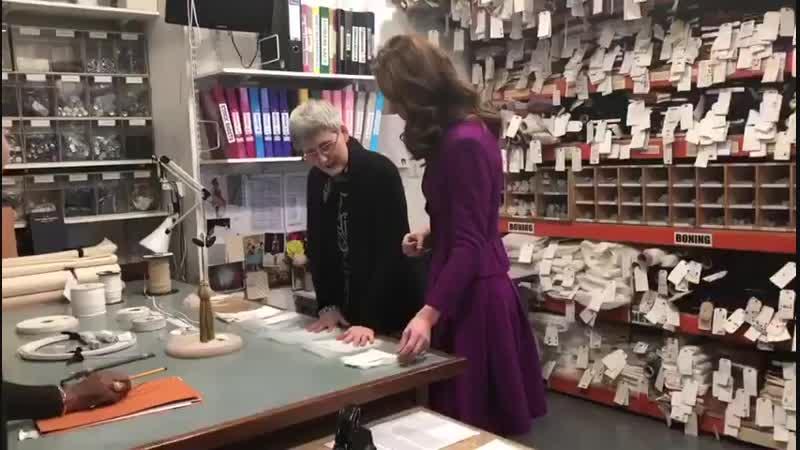 The Duchess of Cambridge talks to Morag Beaton, the opera house's stock room supervisor..mp4