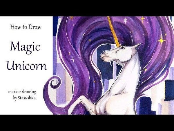 How to DRAW a UNICORN with Markers by Stasushka