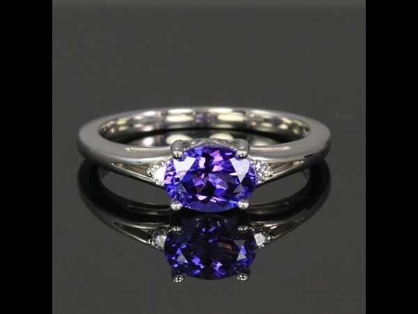 14K White Gold Oval Tanzanite and Diamond Ring 1.14 Carats