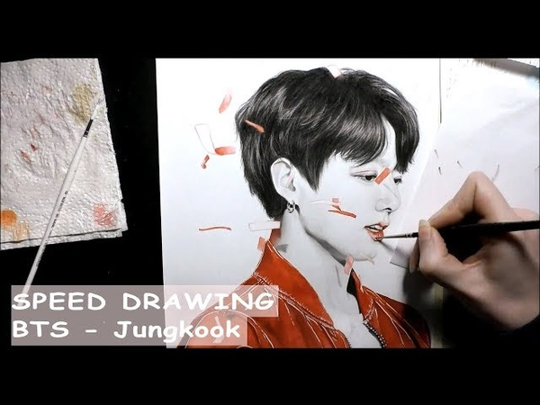 [SPEED DRAWING] BTS Jungkook - 방탄소년단 정국 pencilwatercolor