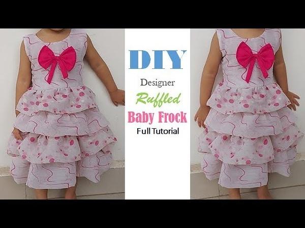 DIY Designer Frill Baby Frock from old dupatta full Tutorial