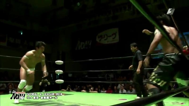 Ohara, Hidaka, Sugawara vs. Yamato, Inoue, Morohashi (NOAH - Global Junior League 2018 - Day 10)