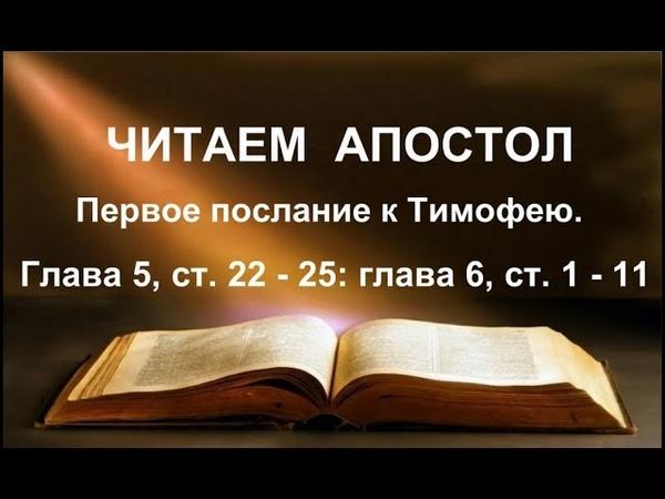 Читаем Апостол. 28 ноября 2018г. Первое послание к Тимофею. Глава 5, ст. 22 - 25: гл. 6, ст. 1 - 11
