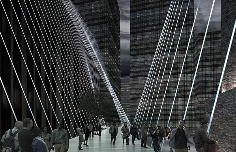 Пешеходные дорожки, подвешенные к зданиям