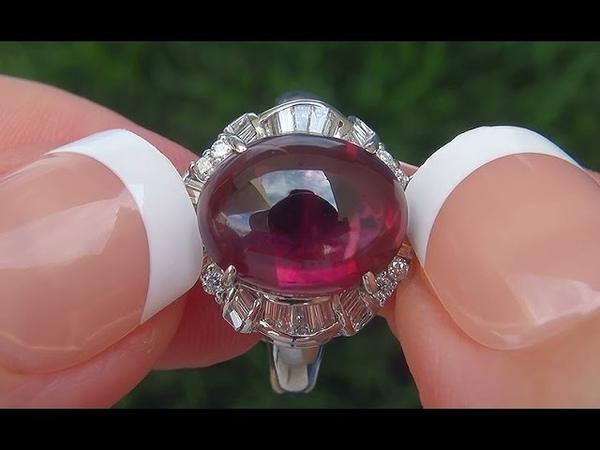 GIA Certified VVS Natural Unheated Pyrope Rhodolite Garnet Diamond PLATINUM Ring - C489