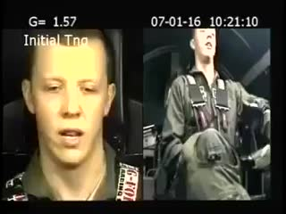 A fighter Jet pilot experiencing 7.6 G-force