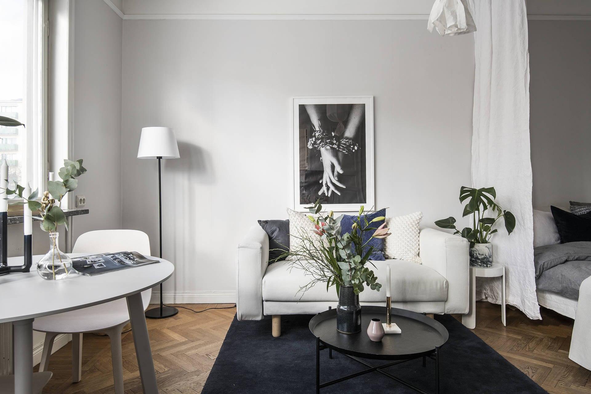 Интерьер скандинавской квартиры 27 м с мини-кухней.