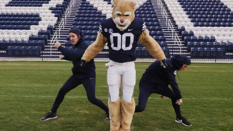 [VIDEO] Cosmo the Cougar, the official mascot of Brigham Young Universitys