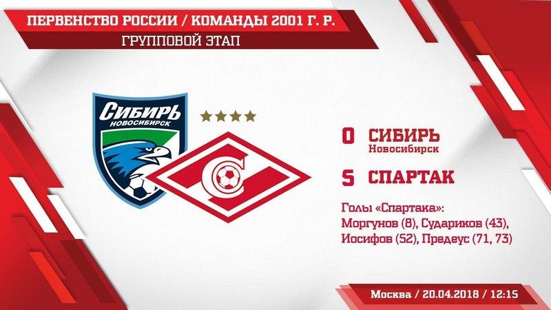 Сибирь - Спартак (2001 г. р.) 0:5