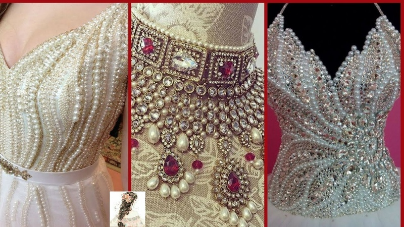 Stylish And Beautiful Design And Patterns Of Beads Pearl Work On Blouses Shirts Sarees Dress Designs