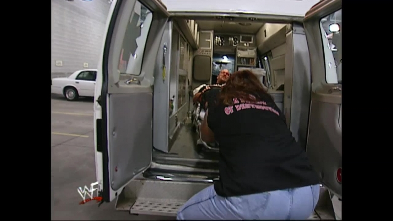 WWF Smack Down 3rd May 2001 - The Undertaker ambushes Steve Austin Triple H in a ambulance