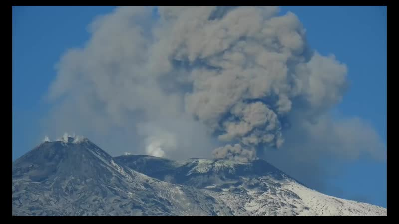 Mt Etna Volcano activity- huge columns of ash is causing troubles to the Catania Airport 4k video.mp4