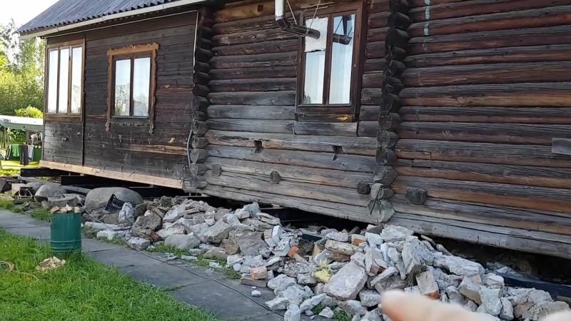 Подъем деревянного дома домкратами и замена фундамента ГЛАВ СВАИ СПБ