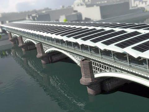 Projeto de concepção da maior ponte solar do mundo na estação Blackfriars sobre o rio Tâmisa Londres