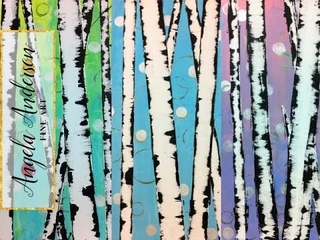 Easy Birch Tree Acrylic Painting Tutorial for Beginners | Paint Trees Using a Credit Card and Tape