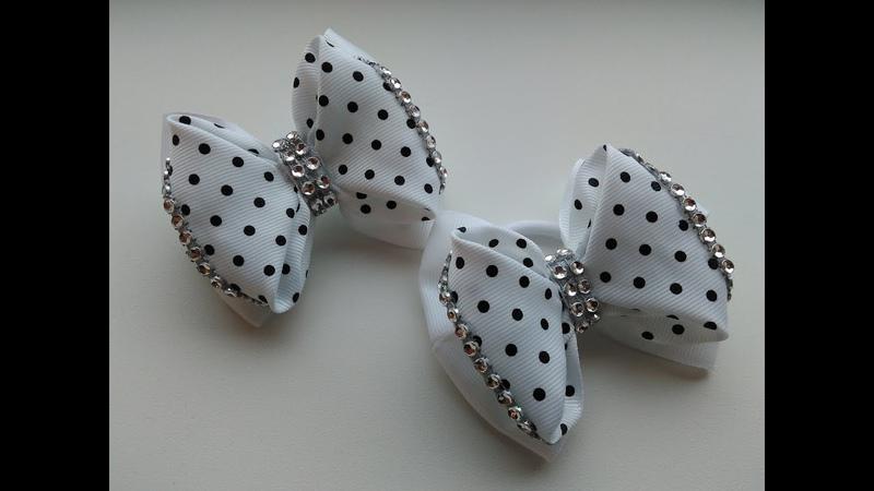 Бантики из репсовых лент МК Канзаши Bows of rep ribbons Arcos de fitas de rep