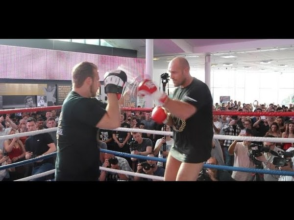 THE MACK IS BACK TYSON FURY INCREDIBLY BATTERS THE PADS IN JUST HIS PANTS FURY v SEFERI