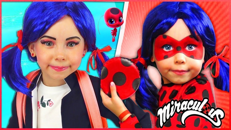 Kids Makeup Marinette Ladybug Costumes Super Hero Pretend Playing in the park with Toys For Kids