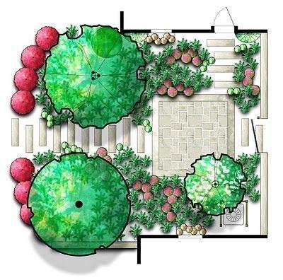 Эскизы ландшафта, дизайн, деревья.
