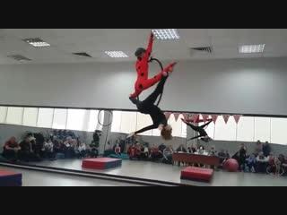 Выступление Бегнова Михея и Гаврильчик Софии. Открытый турнир по воздушной гимнастике