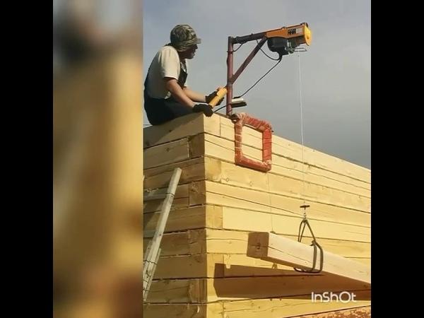Самодельный кран для строительство деревянного дома