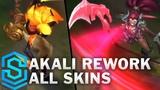 Akali 2018 Rework - All Skins (Blood Moon, Headhunter, Infernal etc)