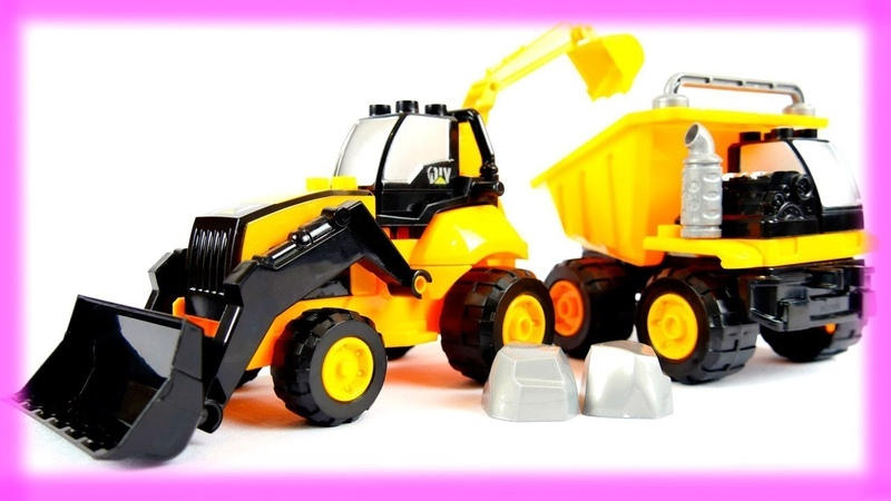 Vidéo en français pour enfants de véhicules: Construction d'un Camion et d'un Tracteur