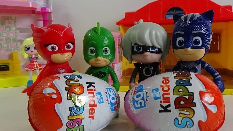 PJ Masks open Kinder Surprise Eggs, Kids Video for KIDS, New Toys Children Play.