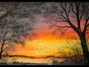 Art Journal Tag 15: Abendrot mit Bäumen