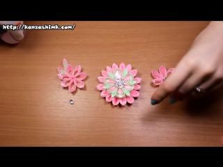 Нежный ободок Канзаши - DIY Kanzashi Infinite tenderness