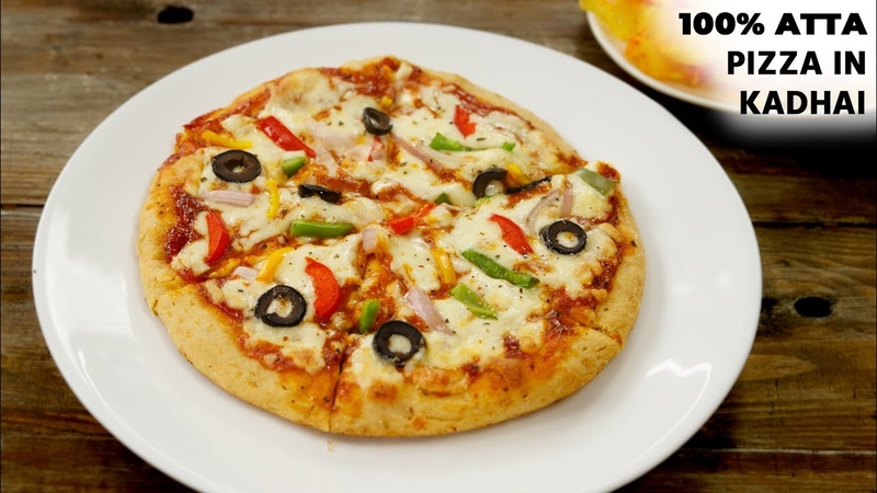100 ATTA PIZZA in Kadhai Recipe - Healthy Wheat Pizza Without Oven , No Yeast - CookingShooking