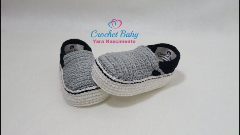 Tênis VANS SLIP de Crochê - Tamanho 09 cm - Crochet Baby Yara Nascimento