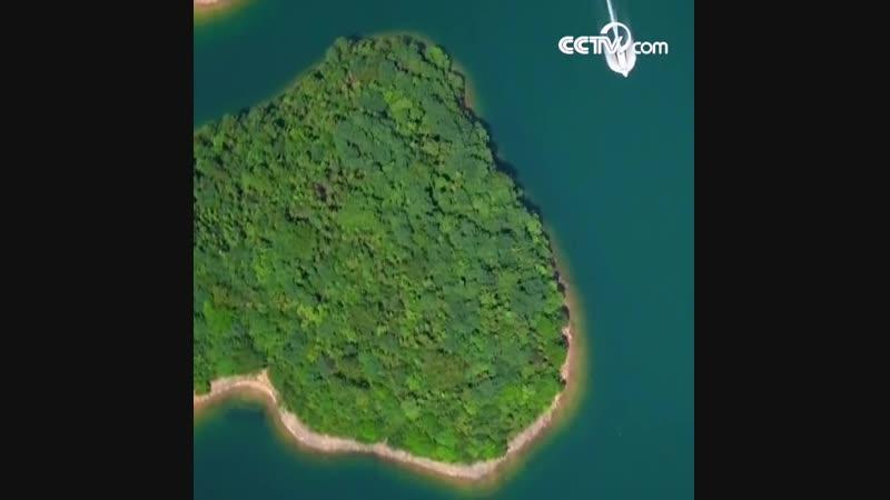 Романтический остров в форме сердца в провинции Цзянси