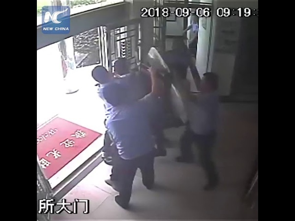 Assailant storms police station, overpowered in 22 seconds