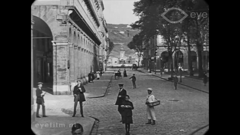 1913 - Street Scenes in San Sebastián, Spain (speed corrected w/ added sound)