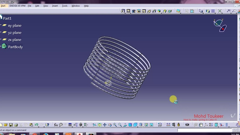 How to make spring in catia V5
