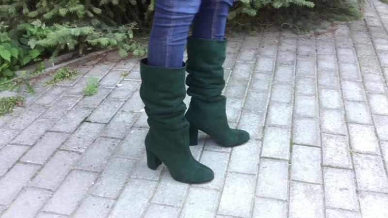 Зеленые замшевые сапоги гармошки