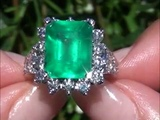 Carmen Electra Certified Colombian Emerald &amp Diamond Solid 14K Ring Perfect for Angelina Jolie