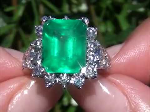 Carmen Electra Certified Colombian Emerald Diamond Solid 14K Ring Perfect for Angelina Jolie