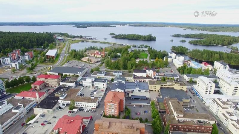 Финляндия,с высоты птичьего полета над Собором города-Савонлинна