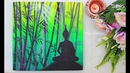 A Green Forest Lord Buddha Painting step by step using easy Technique for Beginners