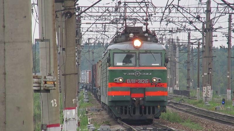 Электровоз ВЛ11-312\236А с грузовым поездом платформа Посёлок Киевский 16.07.2018