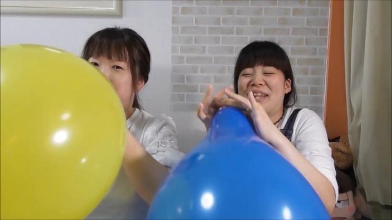 Japanese girls blow to pop race yellow balloon vs blue balloon