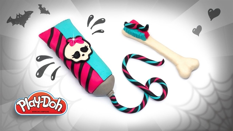 DIY Play Doh Toothpaste Toothbrush Monster High Style Learn Colors Play Doh Fun Video for Kids