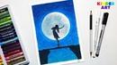Танец над пропастью Рисунок масляной пастелью для начинающих