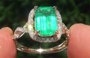 GIA Certified Natural Green Emerald Diamond 14k Yellow Gold Cocktail Estate Ring C843