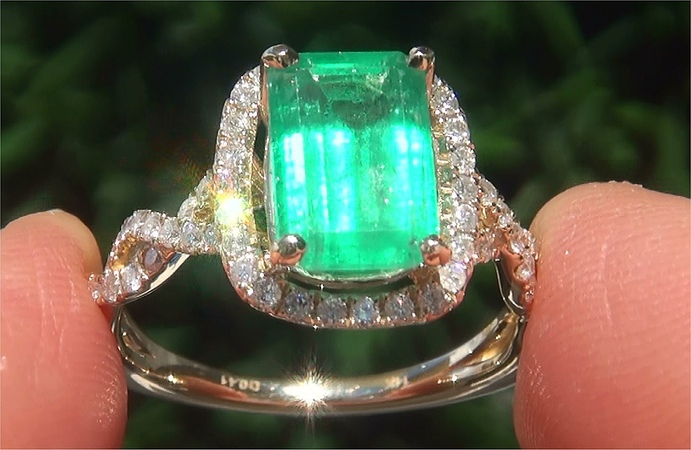 GIA Certified Natural Green Emerald Diamond 14k Yellow Gold Cocktail Estate Ring - C843