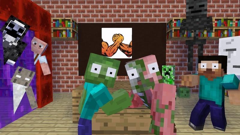 MONSTER SCHOOL HEROBRINE ARM WRESTLING CHALLENGE WITH GRANNY'S TEAM Funny Minecraft Animation