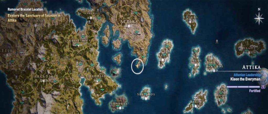 Македонский браслет карта нахождения Assassin's Creed Odyssey